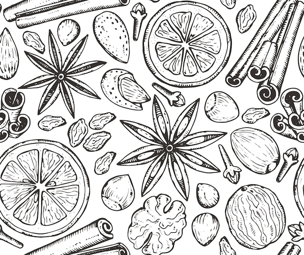 Seamless pattern with christmas spices and citrus fruit