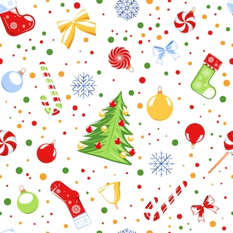 Seamless pattern with a christmas theme isolated on a white background