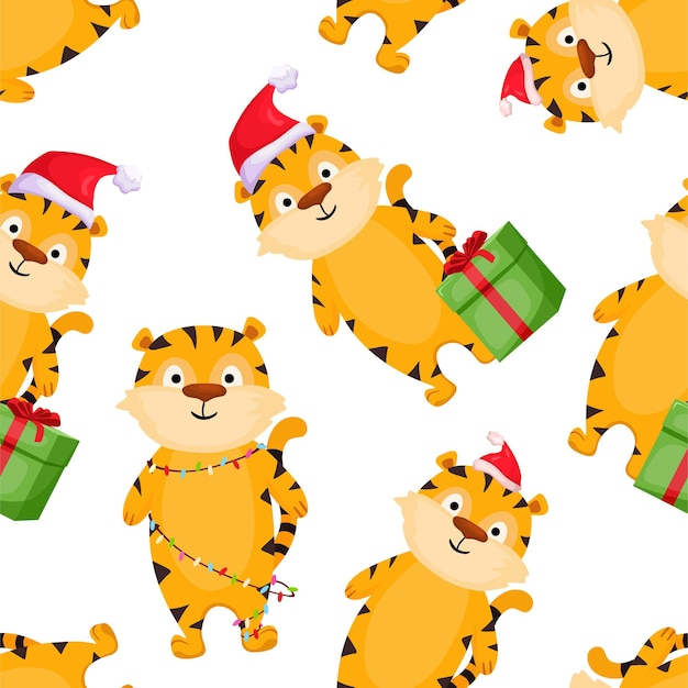 Seamless pattern with christmas tigers vector cartoon illustration