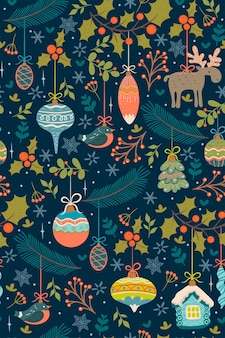 Seamless pattern with christmas toys and twigs.