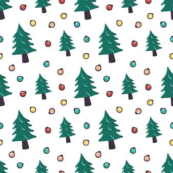 크리스마스 트리와 화환 볼이 있는 매끄러운 패턴입니다. 새해와 겨울 방학, 직물, 포장지 및 디자인을 위한 축제 인쇄