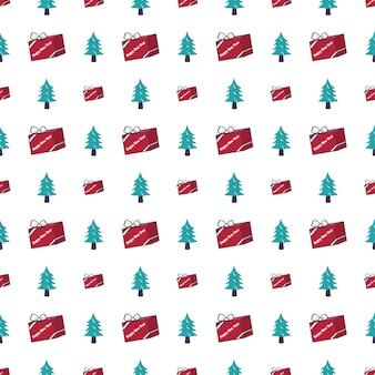 クリスマスツリーとのシームレスなパターンと新年あけましておめでとうございますと冬の休日のためのギフトのお祝いのプリント...