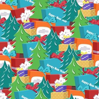 新年あけましておめでとうございますと冬の休日のためのクリスマスツリーとギフトのお祝いのプリントとのシームレスなパターン...