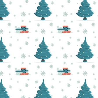 크리스마스 트리와 선물 완벽 한 패턴입니다. 배경 이미지 또는 섬유용 인쇄물.