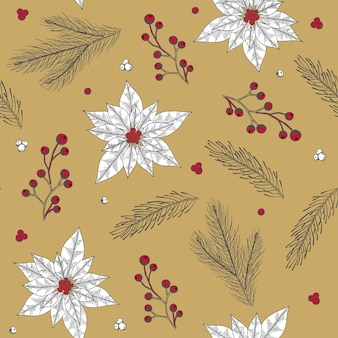 Seamless pattern with christmas tree decorations hand drawn art