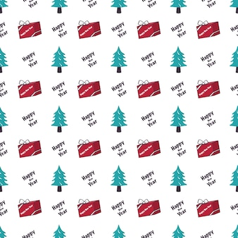 新年あけましておめでとうございますと冬のホーリーのためのクリスマスツリーギフトと言葉のお祝いのプリントとのシームレスなパターン...