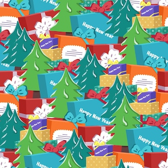 Seamless pattern with christmas tree and gift festive print for happy new year and winter holidays t...