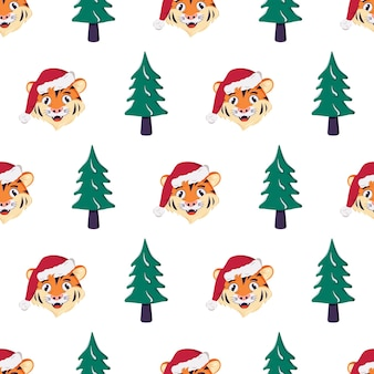 Seamless pattern with a christmas tree and a tiger in a red santa hat. festive print for new year and winter holidays, textiles, wrapping paper and design
