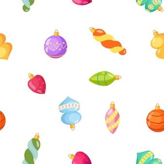 Seamless pattern with christmas tree toys vector cartoon illustration