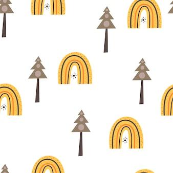 Бесшовный фон с елками и радугами в скандинавском стиле. рисование руки