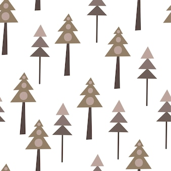 Бесшовный фон с елками в скандинавском стиле. рисование руки
