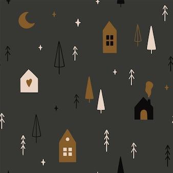 Бесшовный фон с рождественскими елками лунными звездами и милыми скандинавскими домами