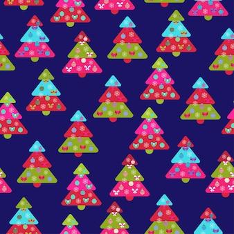 크리스마스 요소와 크리스마스 나무 벡터 일러스트와 함께 완벽 한 패턴