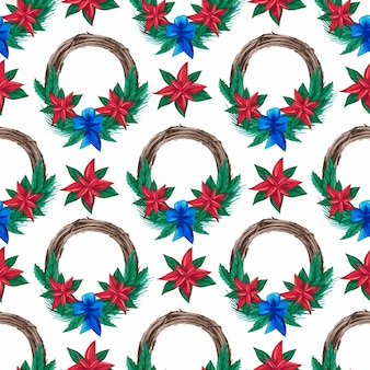 Seamless pattern with christmas watercolor wreaths