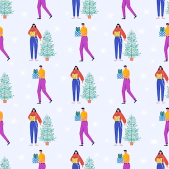 Seamless pattern with christmas young beautiful people and presents, christmas tree. gifts under fir tree and snowflakes