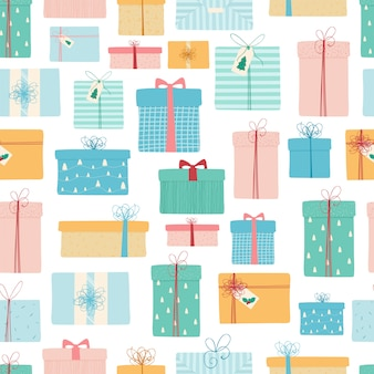 Seamless pattern with christmasgifts