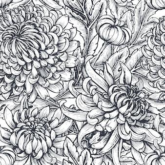 菊の花とのシームレスなパターン