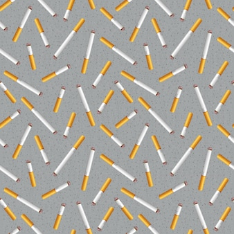 Seamless pattern with cigarette butts and ashes