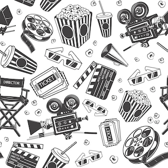 Seamless pattern with cinema elements