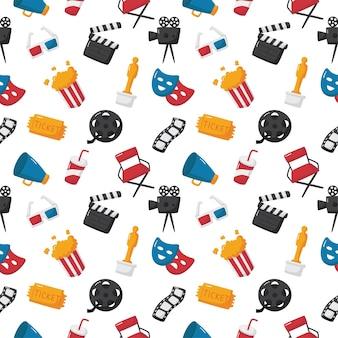 白い背景の上の映画館とのシームレスなパターン