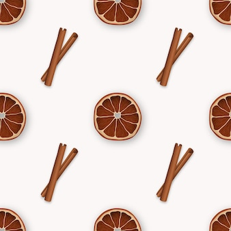 Seamless pattern with cinnamon and orange slices.
