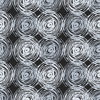 Seamless pattern with circle in monochrome colors. dark background.
