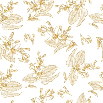 Seamless pattern with citrus fruit leaves, branches and blooming flowers in engraving style