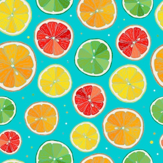 Seamless pattern with citrus fruit