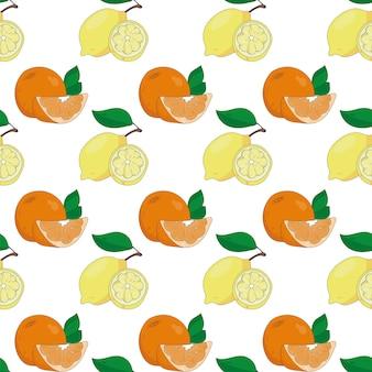 白い背景、レモン、オレンジに柑橘系の果物とのシームレスなパターン。