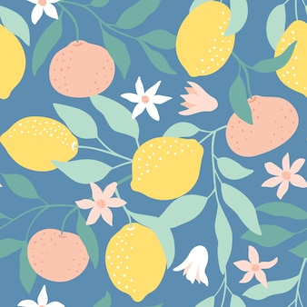 Seamless pattern with citrus fruits.