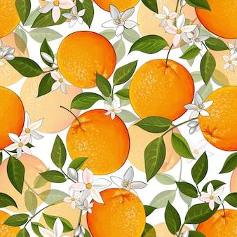 柑橘系のオレンジ色の果物と花とのシームレスなパターン。