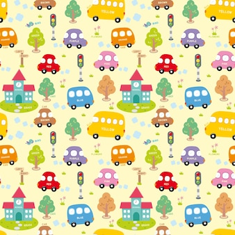 Seamless pattern with city.transport pattern.