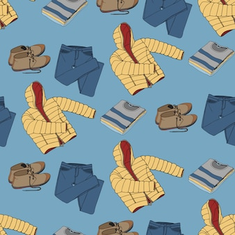 Seamless pattern with clothing and accessories