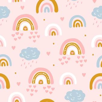 雲と空の虹とのシームレスなパターン