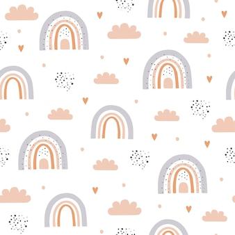 구름과 하늘에 무지개와 함께 완벽 한 패턴