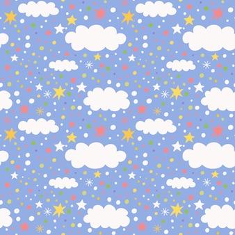 Бесшовные модели с облаком и звездами.