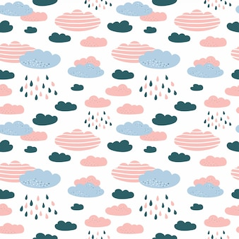 Seamless pattern with cloud and rain in the sky.