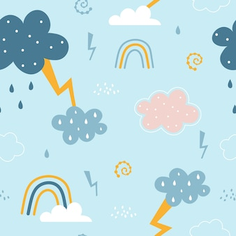 Seamless pattern with cloud and rainbow, rain, lightning