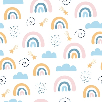 Seamless pattern with cloud and rainbow in the sky, scandinavian style