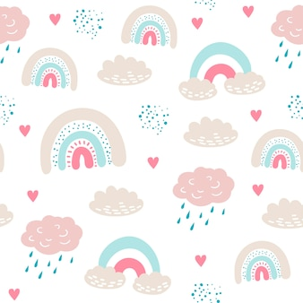 Seamless pattern with cloud and rainbow in the sky