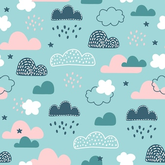 Seamless pattern with cloud and rainbow in the sky.