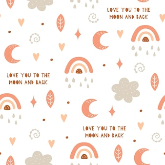 Seamless pattern with cloud, rainbow, stars, moon in the sky.