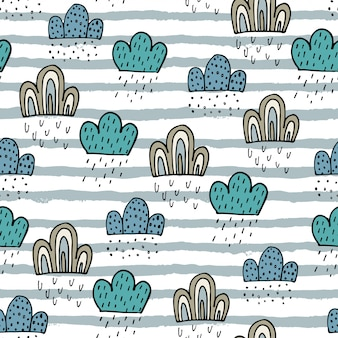Seamless pattern with clouds and stripes.
