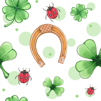 Seamless pattern with clover, horseshoe and ladybug. st. patrick's day