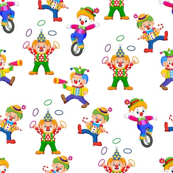 Seamless pattern with clown entertaining people