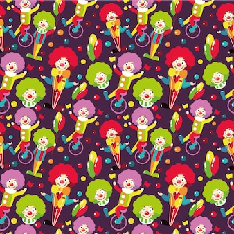 Seamless pattern with clowns.