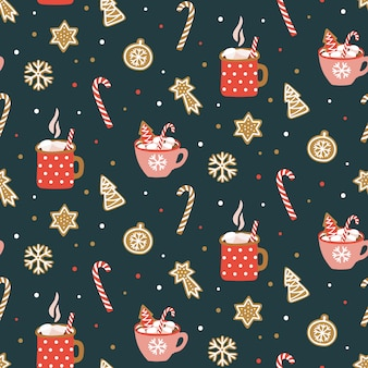 Seamless pattern with cocoa