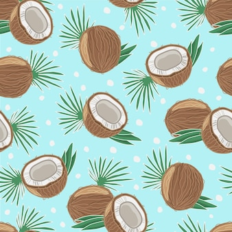 Бесшовный фон с кокосом и пальмовыми листьями. иллюстрация. объекты изолированы.