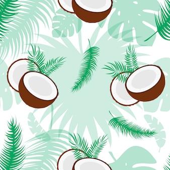 Бесшовный фон с кокосами