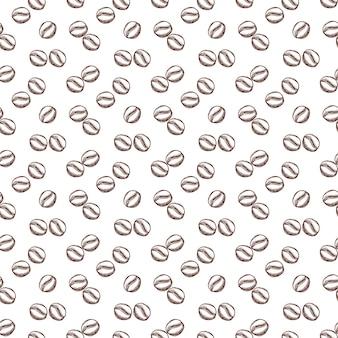 アウトラインスタイルのコーヒー豆とのシームレスなパターン